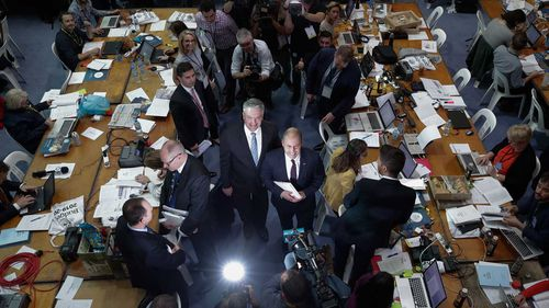 Finance Minister Mathias Cormann and Treasurer Josh Frydenberg during the budget lock-up.