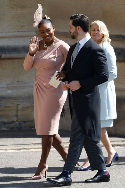 Tennis champ <strong>Serena Williams</strong>&nbsp;photographed rocking cornrows in Versace at Meghan Markle and Prince Harry's wedding