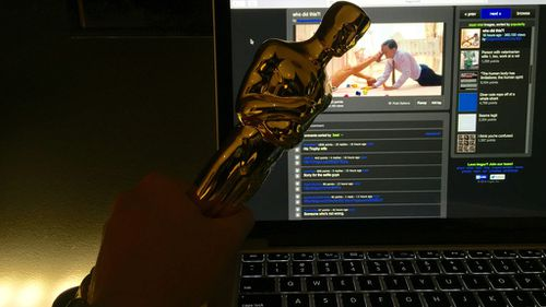 The user posted this image two months ago, using his own Oscar statue to make fun of DiCaprio. (Imgur: iHasanOscar)