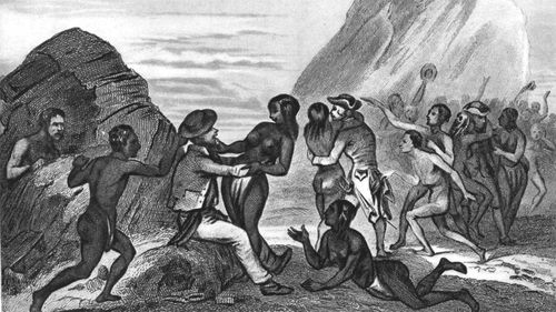 An illustration from La Perouse's voyage, captioned: 'While the women of Easter Island pestered the soldiers and sailors, the men stole their handkerchiefs and their hats'.