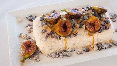 """Click through for our&nbsp;<a href=""""http://kitchen.nine.com.au/2016/05/05/16/06/peter-gilmores-christmas-pudding-icecream-with-caramelised-fresh-figs"""" target=""""_top"""">Peter Gilmore's Christmas pudding ice-cream with caramelised fresh figs</a>&nbsp;recipe"""