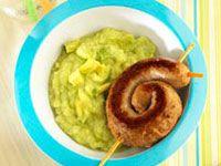 Sausage snakes on avocado-potato mash