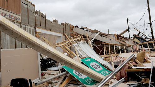A collapsed building after the arrival of Hurricane Michael in Panama City, Florida.