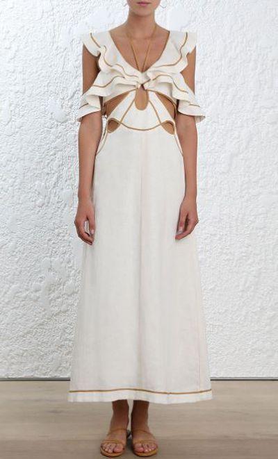 """<a href=""""https://www.zimmermannwear.com/new-arrivals/painted-heart-flutter-dress-cream-tan.html"""" target=""""_blank"""" draggable=""""false"""">Zimmermann Painted Heart Flutter Dress, $1100.</a>"""
