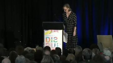 Leigh Sales on stage in Perth today.