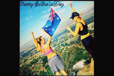 """@deltagoodrem: """"Flying the Flag in LA for our island home that we love so much and keep in our hearts and spirit wherever we are in the world. #AustraliaDay love @reneebargh and I. #proudtobeanaussie""""<br/><br/>"""