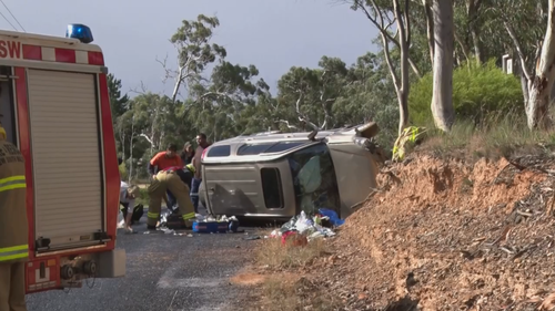 A woman and three children were injured, one critically, after a car roll-over in the NSW Central Tablelands.