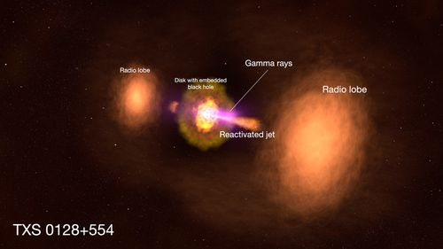 An active galaxy's extra energy includes excess radio, X-ray, and gamma-ray light.