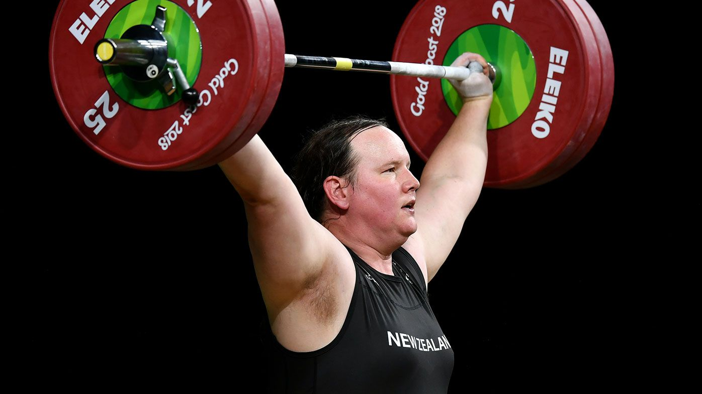 Laurel Hubbard of New Zealand competes in the Women's +90kg Final during the Weightlifting on day five of the Gold Coast 2018 Commonwealth Games(Getty)