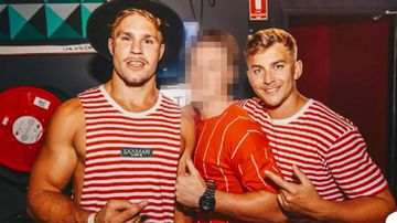 Callun Sinclair (R) has been charged with aggravated sexual assault, the same as co-accused Jack de Belin (L).