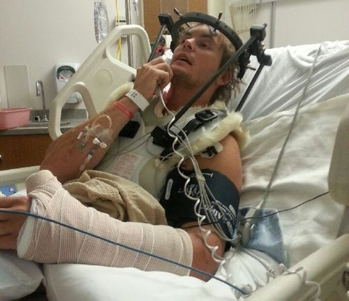 Toby Price in his hospital bed.