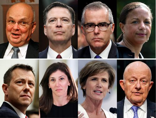 Mr Trump says he is reviewing security clearances for nine other individuals, including the eight pictured, alongside former FBI Director James Comey.
