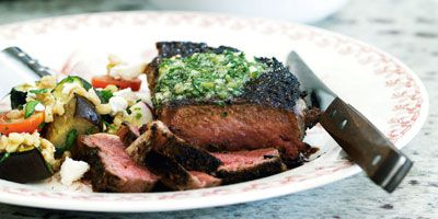 Mexican steaks with lime coriander butter