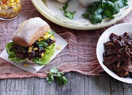 Pulled beef rolls with corn and green chilli relish