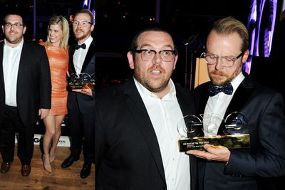 Nick Frost, Alice Eve and Simon Pegg.