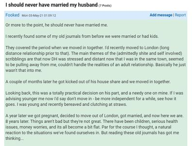The woman discovered her husband's old journals and made a shocking realisation.