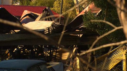 A fire ripped through two sheds south east of Adelaide at 3.30am. Picture: 9NEWS