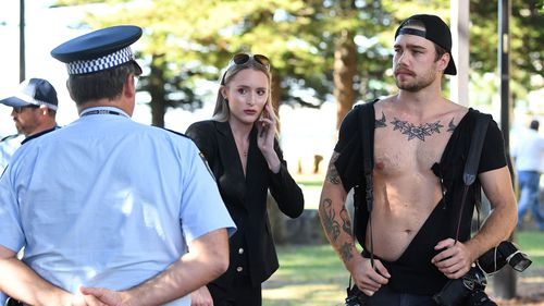 Journalist Eliza Barr and photographer Dylan Robinson after the altercation at a Fraser Anning press conference.