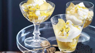 """Click through for our <a href=""""http://kitchen.nine.com.au/2016/05/16/14/31/passionfruit-lime-and-coconut-trifle"""" target=""""_top"""">passionfruit, lime and coconut trifle</a> recipe"""