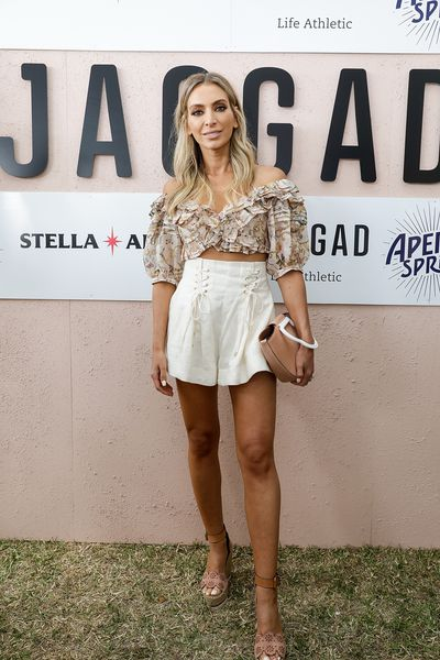 Fashion Blogger Nadia Bartel at the 2018 Portsea Polo wearing See by Chloe shorts and Zimmermann top