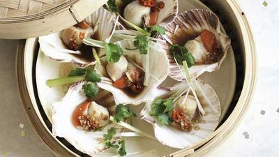"""Recipe:<a href=""""http://kitchen.nine.com.au/2016/05/20/11/02/steamed-scallops-with-ginger-and-soy"""" target=""""_top"""">Steamed scallops with ginger and soy</a>"""
