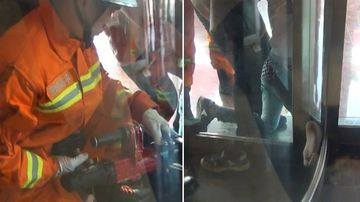 Firefighters had to widen the space between the door and the frame in order to free the boy the boy's leg. (CCTV)