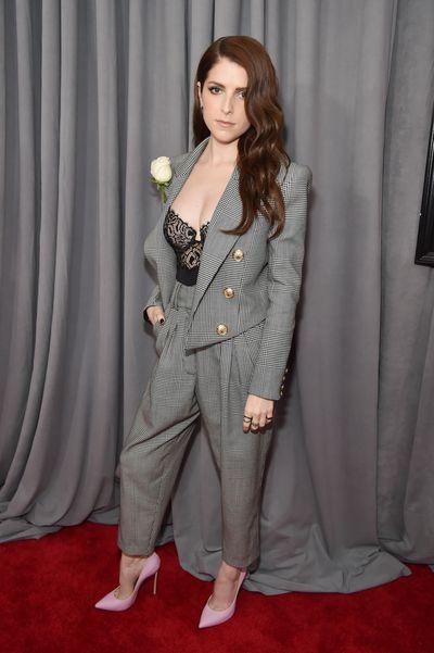 Actress Anna Kendrick inBalmain Pre-Fall 2018