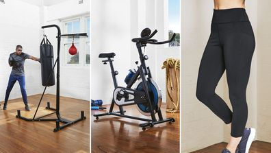 Aldi fitness sale: boxing bag, bike, tights