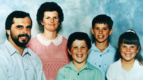Matthew De Gruchy, centre, killed his mother and two siblings in their NSW Illawarra home in 1996.