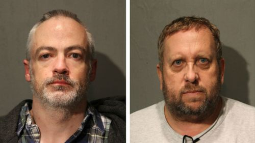 Wyndham Lathem (L), a Northwestern University professor, and Andrew Warren, an Oxford University financial officer, have been charged with first-degree murder in the death of Trenton James Cornell-Duranleau. (AP)