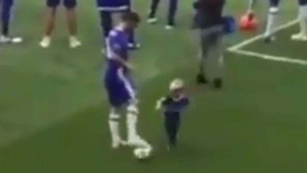 Chelsea star plays hard ball with toddler son