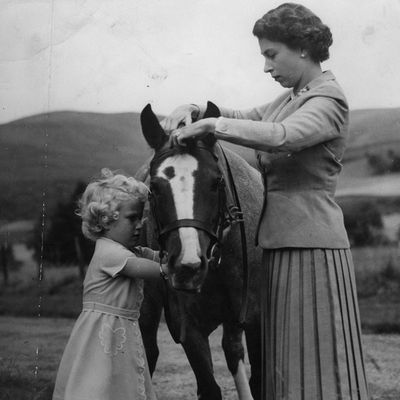 1955:Princess Anne helping her mother, Queen Elizabeth II, fit the bridle to the pony at the the grounds of Balmoral Castle.