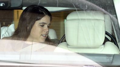 Princess Eugenie of York departs the Portland Hospital for Women on February 12, 2021 in London, United Kingdom