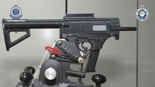 Two 3D-printed submachine guns were seized in raids by NSW Police.