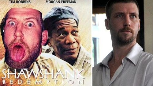 The convicted frauster posted an altered Shawshank Redemption poster featuring his face in place of the film's hero as his profile picture.
