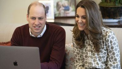 Prince William and Kate on a Zoom call.