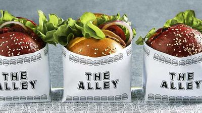 """Recipe: <a href=""""http://kitchen.nine.com.au/2017/05/25/08/08/the-alleys-maple-bacon-burger"""" target=""""_top"""" draggable=""""false"""">The Alley's vegan maple bacon burger</a>"""