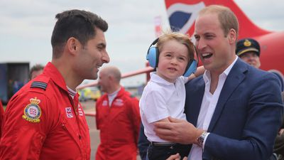 Prince George was also happy to meet RAF service people.