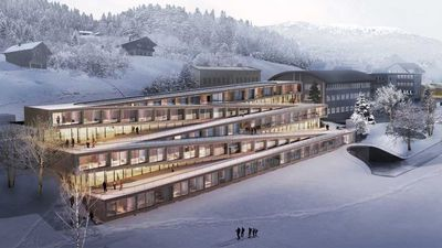 This Swiss hotel lets guests ski down its zigzagging roof