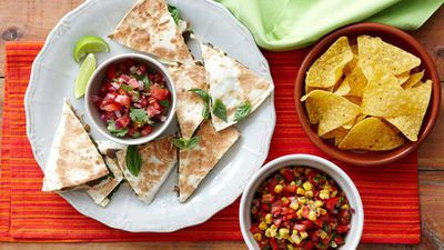 "Recipe: <a href=""http://kitchen.nine.com.au/2016/05/16/11/55/spinach-and-mushroom-quesadillas"" target=""_top"" draggable=""false"">Spinach and mushroom quesadillas</a>"