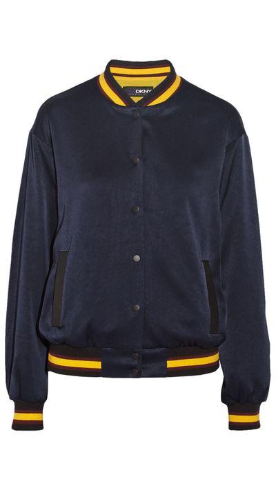 "<a href=""http://www.net-a-porter.com/product/506179/DKNY/-cara-delevingne-crepe-de-chine-varsity-jacket"">Crepe De Chine Varsity Jacket, $372.31, DKNY</a>"