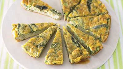 "Recipe:&nbsp;<a href=""http://kitchen.nine.com.au/2016/05/13/12/19/herb-and-pine-nut-frittata"" target=""_top"">Herb and pine nut frittata</a>"