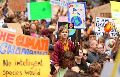 Thousands of Australians and school children protest against climate change inaction, March 2019, Sydney Town Hall.