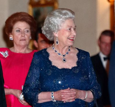 Lady Elizabeth and Queen Elizabeth leave the Ritz Hotel after attending a party to celebrate The Queen's Golden Jubilee on November 14, 2002.