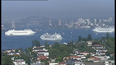 Keen Australians from all over the country have lined the shores to get a glimpse of this historic event. (9NEWS)
