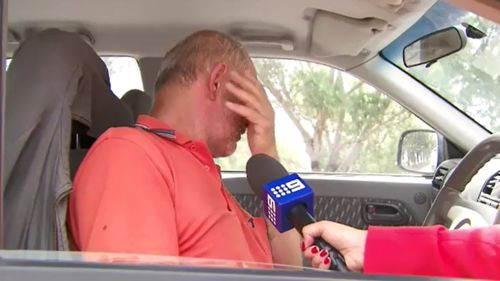 Mr Strucelj was visibly upset about the news of his son's arrest. (9NEWS)