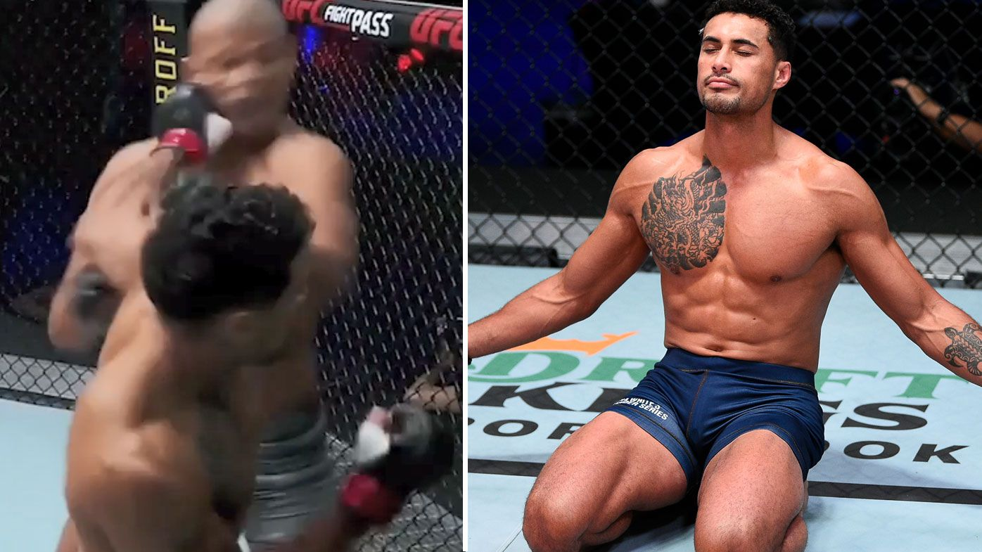 Kiwi Carlos Ulberg earned himself a UFC contract with a brutal knockout on Bruno Oliveira. (Getty)