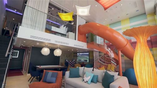 An eight-bedroom, 125-square-metre Ultimate Family Suite is also on offer for $110,000 AUD for seven days that features an indoor slide. Picture: 9NEWS.