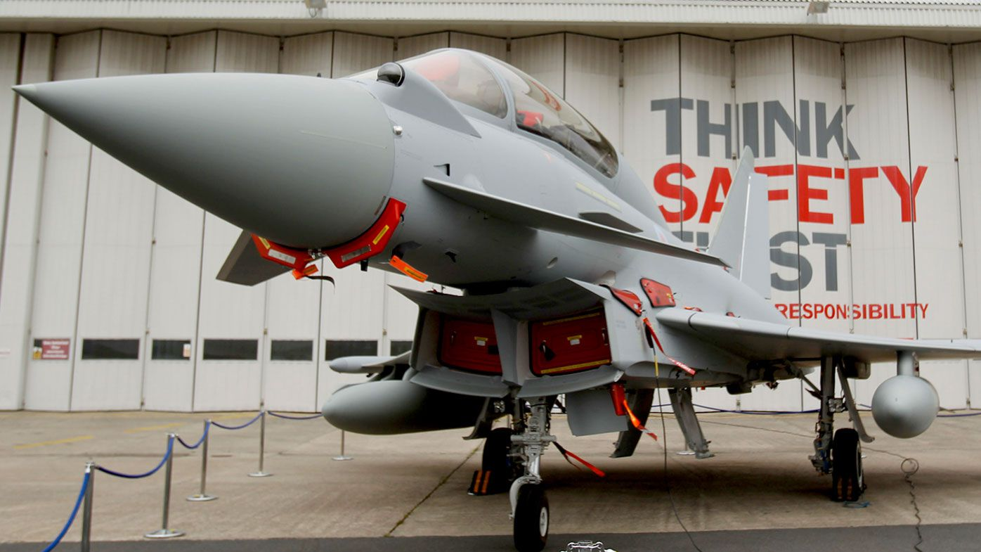 A file photo of a Eurofighter Typhoon at BAE Systems, Warton Aerodrome, near Warton in northwest England. (AAP)