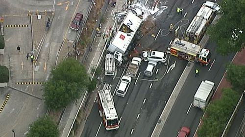 The crash happened at 6am this morning. There are significant traffic delays. (9NEWS)